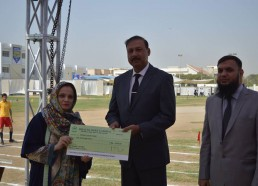 Ms Shabiha Faizan Being Awarded a Token of Appreciation -College Section for Statistics